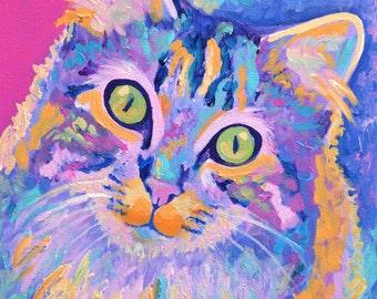 Cat portrait, Custom Pet Portraits - Original Acrylic on Canvas Paintings, pet paintings, Acrylic on canvas painting, pet portrait, pet art