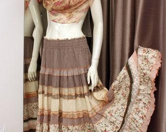 Boho summer  skirt in beige- white   colours.