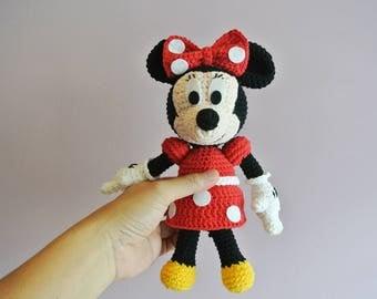 Crochet Minnie Mouse Amigurumi - Handmade Crochet Amigurumi Toy Doll - Minnie Mouse Crochet - Amigurumi Minnie Mouse