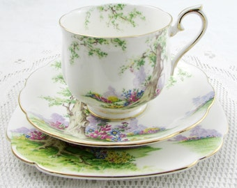 "Royal Albert ""Greenwood Tree"" Trio, Tea Cup, Saucer, and Plate, Teacup, Gold Trim, Vintage Royal Albert"