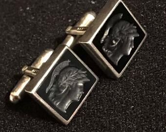 Neoclassical Hematite Intaglio Sterling Silver Cufflinks Marked RT Birmingham England Victorian Trojan Warrior