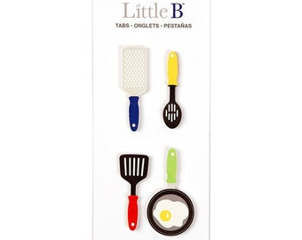 Cooking Tools Utensils Planner Tabs Journal Sticky Notes Little B Spoon Spatula Frying Pan Food Recipe Cookbook Page Flags Sticky Note Set