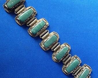 1930s Indian Silver & Jade Bracelet