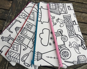 HANDMADE Colour in pencil case - back to school - choice of lining/zip