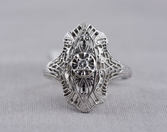Art Deco White Gold Diamond Engagement Ring with Filigree Accents