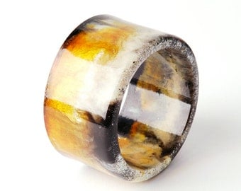 Marbled resin bangle, 6,5 cm Ø, black-white-amber