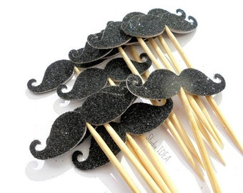 Glitter Black double sided Moustache Cupcake Toppers, Food Picks