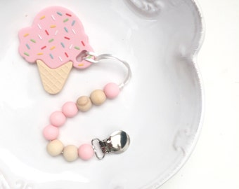 Ice Cream Cone Teether , Pink Silicone Baby Teether, Food Grade silicone teether, Sweet Teether, Sensory Bead Pacifier Clip