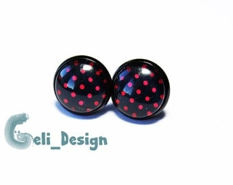 Earrings cabochon points black red