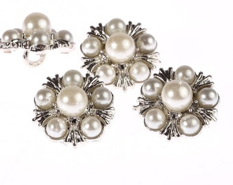 10 x 16mm Pearl Diamante Silver Crystal Flower Buttons Diamante Rhinestone