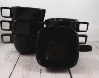 Brook Park Melmac Cups, black,Brookpark Modern Design Melamine Cups Black Square Tea Coffee vintage retro cups black melmac cups melamine