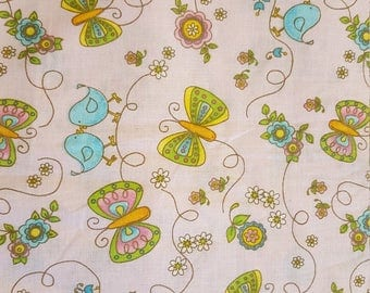 Bird Fabric Butterfly Fabric 100% Cotton Pink Cotton Fabric One Fine Day