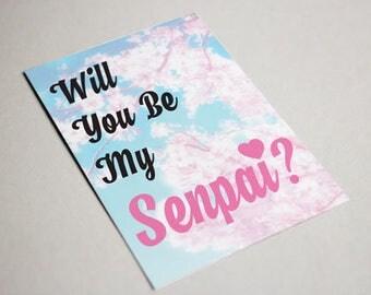 Will You Be My Senpai Postcard Greeting Card Digital Download