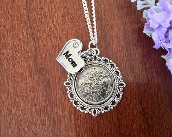 thank you mom necklace, jewelry gift for mom, birthday necklace for mom, just because gift, good luck mom, mother in law gift lucky necklace