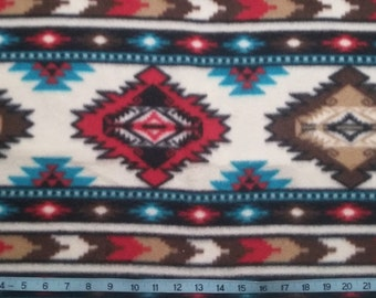 Brown, Tan, Red and Turquoise Anti-Pill Fleece Fabric