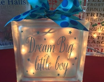 Dream Big Frosted Glass Block Night Light