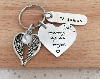 loss of baby, mummy to an angel, daddy, loss of a child, miscarriage gift,  rememberance personalised keyring,  mother of angel, angel wings