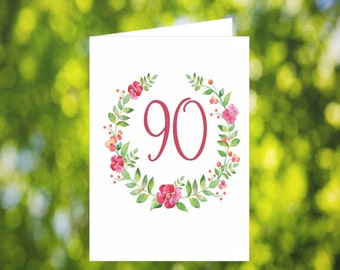90th Birthday Card Download: Flower Wreath Birthday Card - Pink - Digital Download - Downloadable Card - Birthday Card for Her