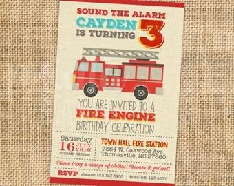 DIGITAL Fire Engine Invitation, Fire Engine Party, Fire Engine Birthday Invitation, Fire Engine Theme Printables