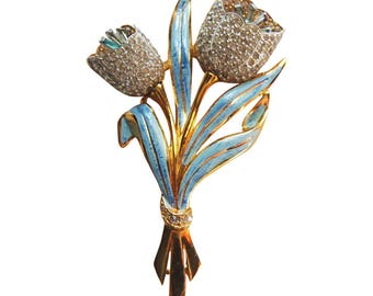 Stunning Painted Enamel Blue Floral Spray With Rhinestone Detail Brooch/Pin Vintage 1940 Rhinestone Pin Bridal Pin Trembler