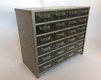 Industrial Metal Organizer with 24 Lucite Drawers