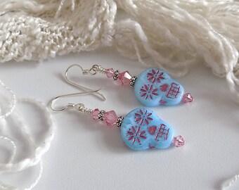 Pink Blue Sugar Skull Earrings Day of the Dead Sterling Silver Earrings Sugar Skull Jewelry Halloween Earrings Gift for Her