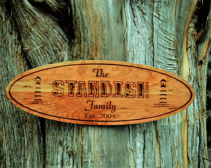 Custom Outdoor Wood Sign Light House Plaque Sign Beach House Sign Lake House Decor Nauitical Last Name Sign Custom Carved Wood Sign