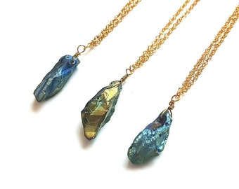 Quartz Necklace // Rainbow Quartz // Crystal Jewelry // Wiccan Jewelry