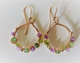 Amethyst,peridots and vesuvisite gemstones wrapped with 14ct gold filled wire and embellished with gold filled beads