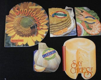 Lot of 5 Food Shaped Cookbooks from Celestial Arts  Shrimp Pancakes Garlic Cheese Sunflowers Very Unique