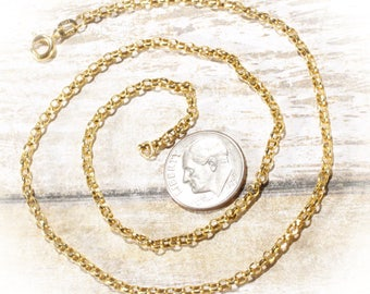 "14K Yellow Gold 2MM Stylish Rolo Chain,  16"", 18"", 20"" or 24"" Long Chain Necklace with Spring Ring Clasp, 4 Lengths Available"