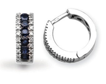 18ct White Gold Diamond And Sapphire Earrings