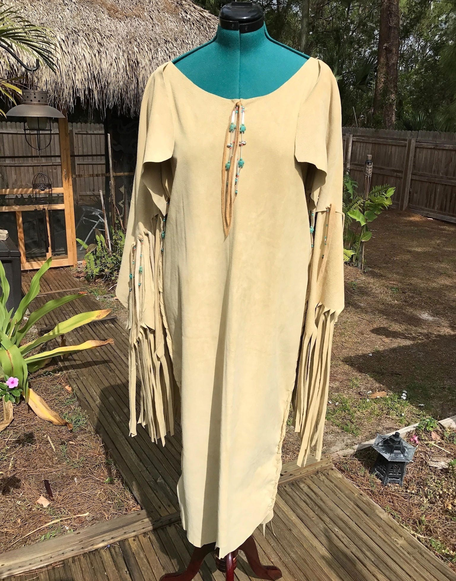 leather wedding gown native american native american wedding dress Leather Wedding Gown Native American Style Pig Suede Dress Pow Wow Dress Regalia with Fringe and Beads