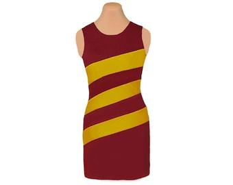 Deep Red + Gold Diagonal Stripe Dress