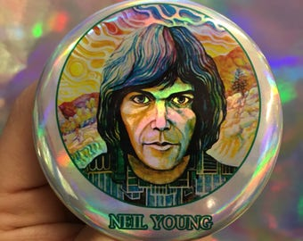 """NEIL YOUNG first album iconic folk rock Rust Never Sleeps Crazy Horse 70s style Canadian artist Human Highway 2.25"""" holographic button"""