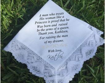 Mother of the groom gift, mother of groom gift, wedding handkerchief, lace handkerchief PRINTED handkerchief wedding gift keepsake (H 049)