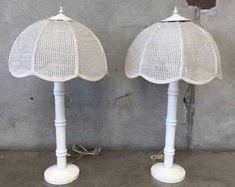 Pair of Vintage Rattan & Cane Table Lamps (TNZYPS)