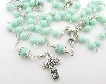 First Communion Rosary - Catholic Rosary Beads - Pale Mint Green Five Decade Rosary - Girl's Rosary - Catholic Gift - First Communion Gift