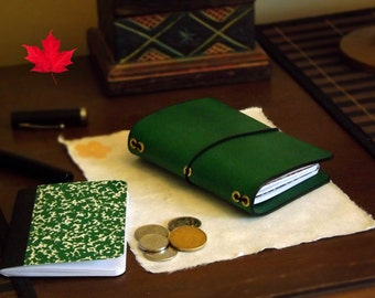 Leather Dollar Store size Tachikoma - Dollardori - Midori Travelers Notebook - Molskine - Passport - Fauxdori - composition- diary - planner