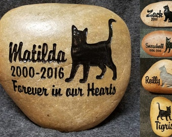 "CAT STANDING Memorial Stone 8"" (approx. size) Personalized with Name & option to add  Saying or Date Engraved Rock"