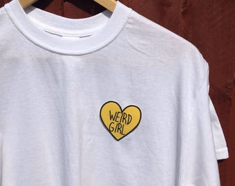 Weird girl heart patch white cropped t-shirt. Sizes S and M available