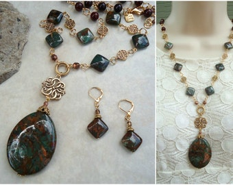 Opal Stone Pendant Necklace.Dangle Earring.Jewelry Set.Long Necklace.Gold.Statement.Beaded.Chunky.OOAK.Layering.Brown.Bridal.Gift.Handmade.