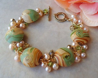 Artisan Lampwork Cluster Bracelet.Freshwater Pearl.Green.Brown.Silver.Gold.Toggle.Painted.Beadwork.Bridal.Chunky.Statement.gift.Handmade.