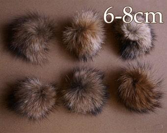 4pcs x Small (6-8cm)real raccoon fur pom pom, fur pompom, raccoon pom pom,brown fur ball, fluffy pom pom TZ1559