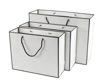 10 x Transverse Black&White Paper Bags with Handle /Shopping Bags / Weddings / Gift bags / Favor bags /  Kraft Gift Bags TZ1780