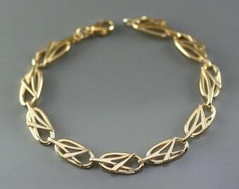 Art nouveau gold bracelet, art deco gold bracelet, celtic gold bracelet, art deco jewelry, unique design, women gold bracelet, original