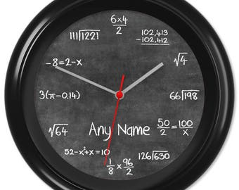 Maths Clock Teacher Student Pupil Equation Chalkboard Blackboard Classroom #4 - Can be personalised (7247)