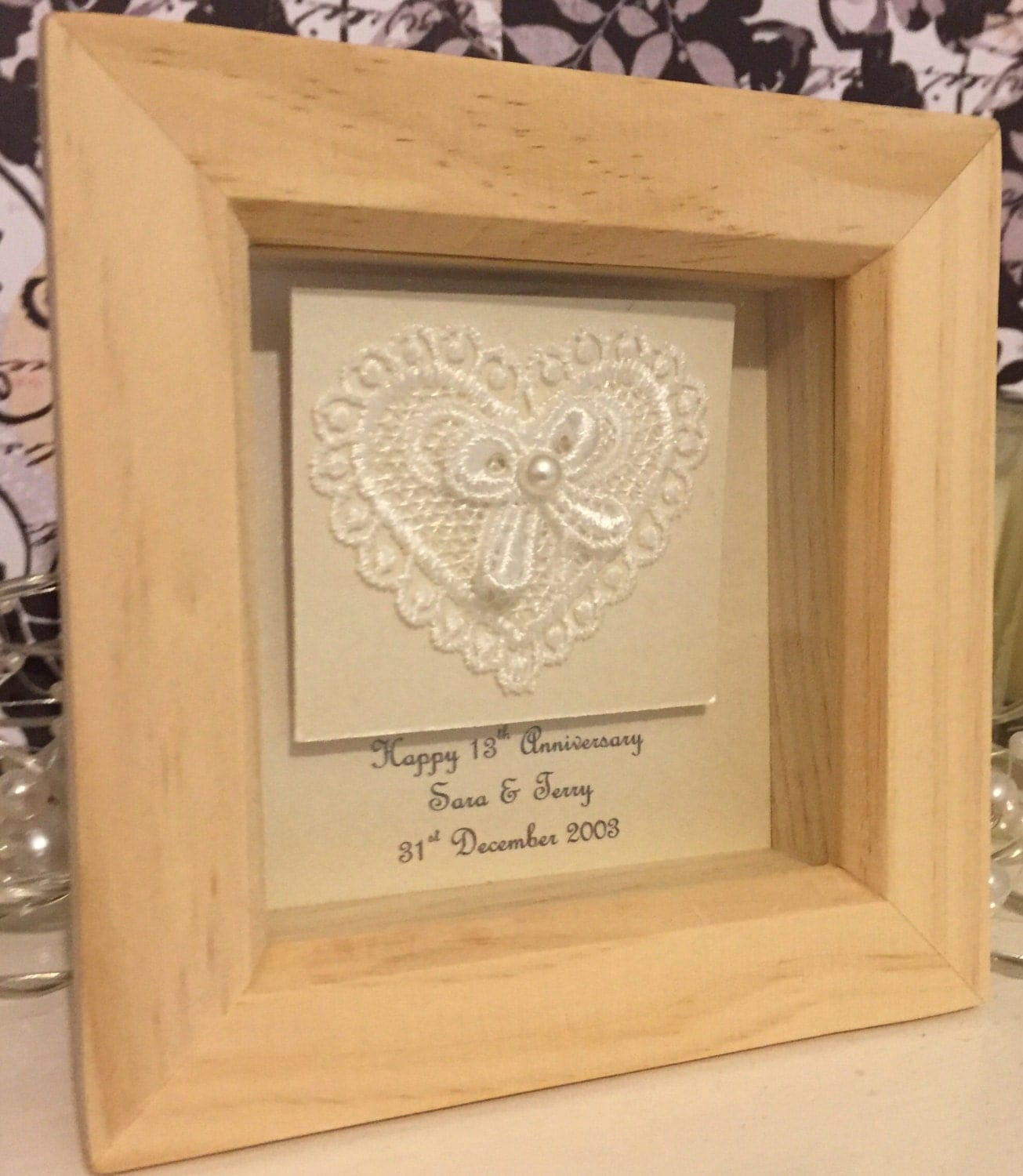 Gift For 13th Wedding Anniversary: 13th Wedding Anniversary Gift 13th Anniversary Present Lace