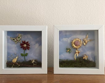 Set of 2 jewelry shadow boxes, flower shadow boxes, jewelry shadow boxes