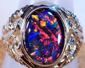 Mans Solid 14k white gold genuine Australian opal ring (13275)